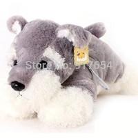 Lovely Gray Lay Prone Schnauzer Fluffy Plush Dog Stuffed Toy