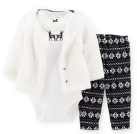 New arrival! Retail carter's baby girl 3pcs cardigan set, baby X'mas outfit set. free shipping