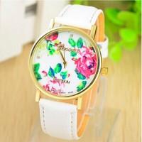 Relogio Masculino 2014 Hot New Fashion GENEVA Watch Women Rose Flower Quartz Dress Watches Fashion Luxury Brand Wristwatches SB3