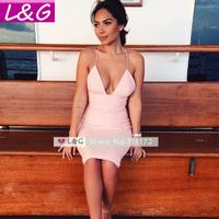 L&G Fashion Women Dress 2014 Hot Selling Sexy Pink Spaghetti Strap V Neck Bodycon Midi Party Dresses Casual Vestidos Sale 10259