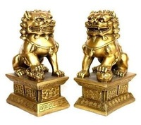 beautiful jewelry pair of tibet Style brass statue foo dogs/Lions Pair crafts gift Copper Bronze Tibet Silver