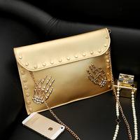 New Korean female bag tide personality skull clutch bag PU casual rivet chain shoulder bag wholesale envelope