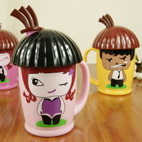 Cartoon lovely thicken plastic cup with spoon eco-friendly Home & Garden J2613