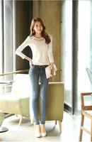 2014 New Women's Fashion Autumn long-sleeved t-shirt female Korean Slim round white lace shirts  neck T-shirt