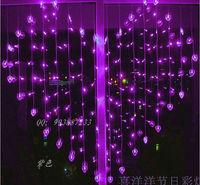 2 x 1.5m Heart Shape LED Curtian lights 128 SMD 34 Hearts Multicolor LED String Holiday Light Christmas Wedding lamp EU 220v