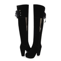 high heel platform square toe overknee boots with back shoeslace rhinestone decoration