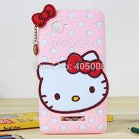 Lenovo A880 Silicone Case Cute Hello kitty Polka Dots Case Back Cover Lenovo A880 Cartoon Phone Case Free Shipping 1pcs/lot