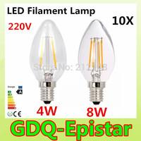 10x Energy saving E14 4W 8W Led Filament Light Bulb 360 Degree white,warm white lamp bulbs for home/indoor/kitchen AC220V AC230V