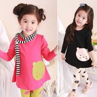 Girl's clothing autumn 100% cotton baby bear cute shirt long-sleeve t-shirt spring