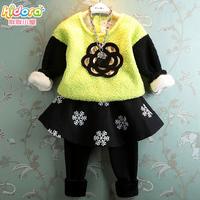 Girl's clothing autumn and winter thermal 2014 plus velvet flower pullover sweatshirt fleece