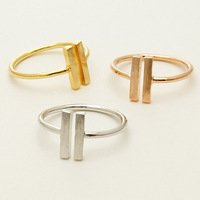 wholesale Geometric Bague 18k Gold Plated Double Bar Knuckle Ring Free Shipping