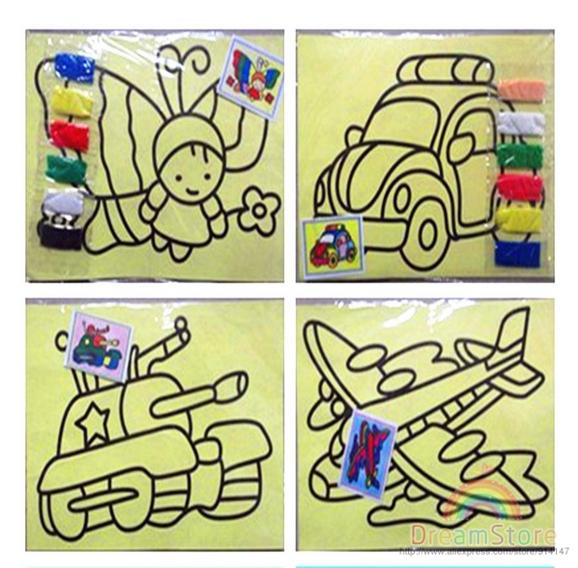 DIY ToysChildren sand paintingColor Sand art paintingeducational toy painting setchildren study fun HT380(China (Mainland))