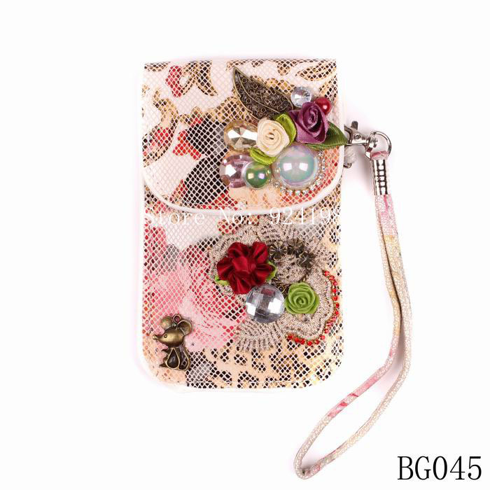 2015 fashion crystal accessories new latest model design pu leather pearl flower alloy leaf women phone bag wallet purse jewelry(China (Mainland))