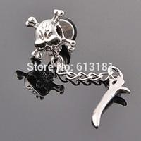 HOT Cool Personality Knife Earrings Men Piercing Jewelry Titanium Steel Skull Stud Earrings 1pcs