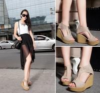 scrub sandals female Genuine leather high-heeled platform solid color open toe wedges sandals
