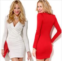 deep V-neck 2014 sexy slim women autumn&winter dress red long-sleeve Bodycon Bandage Party Pencil Dress Vestidos De Festa