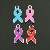 20pcs/lot 20*10mm chrome plated mix colors enamel ribbon charms