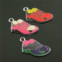 10pcs/lot 31*16mm chrome plated mix colors enamel sport shoe charms