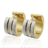 n041 Sparkling Stainless Steel Mens Hoop Earrings Silver Gold For Christmas .Birthday .Party Jewlery Gifts