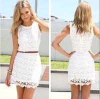 2014 Summer Sleeveless O-neck Slim Package Hip Lace Vest Dress Without Belt Crochet Vestidos Vestido De Renda S-XXL