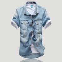 2014 Men Fashion Shirt Turn-down Collar Blue M-XXL Slim Denim Jeans Shirt Summer Short Sleeve Shirt Casual Free Shipping
