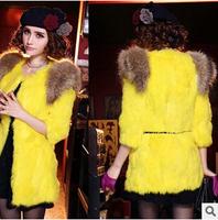 8 Colour 2014 New Luxury Winter Rabbit Fur Coat Women Brand Beautiful Big Fur Collar Jacket Coat  High Quality Casacos Feminino