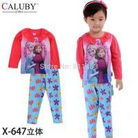 6 sets/lot / 2014 children girls long sleeve frozen pattern clothing set / children 2-7 years sleepwear