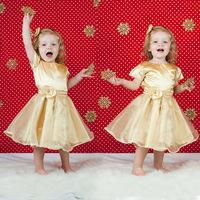 New 2014 Cute Frozen Princess Dress Girl Summer Dress Girls Golden Dress Children Clothing Kids Wear