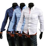 Free Shipping High Quality Fashion Best-selling Ribbon Decorated Turn-down Collar Long Sleeve Man Cotton Shirt Plus Size M-XXXL