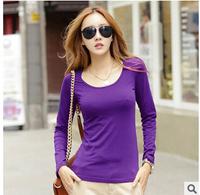 Causal women winter long t-shirt cotton o-neck long sleeve t-shirts spring autumn tops&tees clothing