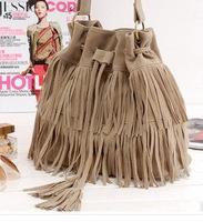 new 2014 European and American  DrawString bucket handbag women messenger bags Hot tassel shoulder bags