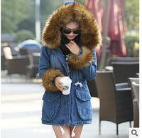 2014 New Fashion Winter Casacos Femininos Women Warm Slim Large Fur Collar Cotton-padded Denim Jacket High Quality Trench Coat