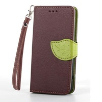 Leaf design for Sony Xperia Z3 Compact leather case magnetic wallet leather cover in stock