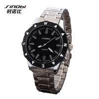 SINOBI Brand New Fashion Luxury Black Stainless Steel watches Men Quartz Watch High Quality Men Sports Watches wristwatches