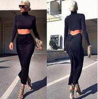 Women Autumn Dress Long Sleeves Casual Black Cropped Tees Crop Top Maxi Skirt vestidos femininos New High Street Skirts Slim New