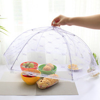 Umbrella Style Anti Fly Mosquito Kitchen Diameter 54cm Cooking Tools Meal Cover Hexagon Gauze Table Food Cover Color Random