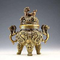 Chinese China Rare Copper Dragon Tiger Incense Burner crafts gift Copper Bronze Tibet Silver