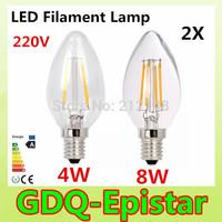 2x Energy saving E14 4W 8W Led Filament Light Bulb 360 Degree white,warm white lamp bulbs for home/indoor/kitchen AC220V AC230V