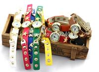 Free shipping 2015 fashion casual 2pcs creative bracelet watch diamond Wristwatches 6 colors--plok