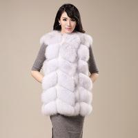 New Arrived 2014 Winter Women Fox fur Outerwear Coat,Really Fashion Natrual Fox Fur Vest Coat