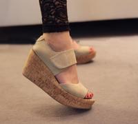 Wedges sandals female scrub genuine leather platform shoes  women's shoes sandals open toe shoe