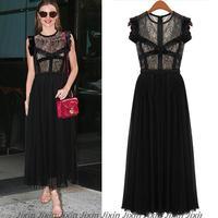 2014 Runway Dress Women's High Quality Dresses Patchwork Chiffon Lace Vestido Com Renda Black Casual Dresses Business Wear