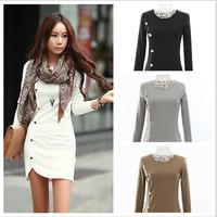 New Listing Fall and Winter Korea Fashion Women Dress O-Neck Knitting Solid Brief A-Line Cotton Long Sleeve Women Dress