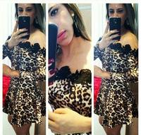 Women Leopard Print and black lace patchwork dress Cocktail party Vestidos Plus Size S,M,L,XL 2015 New Arrival free shipping