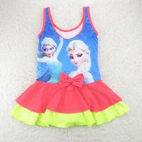4-12 Years Frozen Children Baby Swimsuit/Kids One Piece Swimwear/Girls Swimming Clothes/Retail 1 pc/Princess Sophia