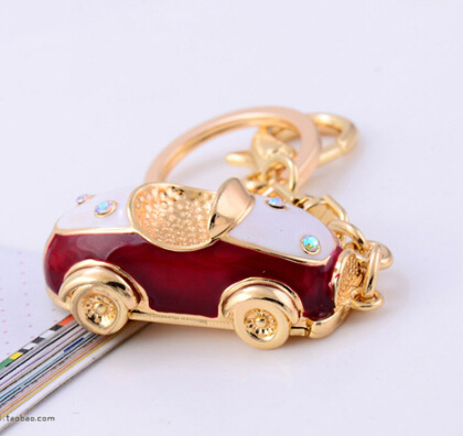 [NO.221] Luxury Jewelry Small Car Keychains Fashion Gold Crystal Rhinestone Carkey Chains Phone Charms H-A0010(China (Mainland))