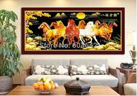 "Wall Home Decoration Cross StitchPrecision  Printing  5D ""Eight Horses Pentium  "" Cross-Stitch Kit , DIY Cross Stitch Sets,"