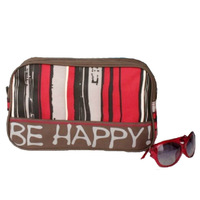 Free shipping grey be happy red stripe waterproof nylon women men travel toiletry bag accessories organizer cosmetic tote bags