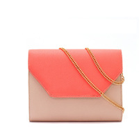 Brand design color matching clutches chain ladies evening party bags over shoulder bags womens pink leather envelop handbags