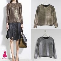 Winter Retro Trendy Women's Vintage Bronzing Golden Color Long Sleeve Knitted Pullover Slim Short Sweater Jumper Knitwear Tops